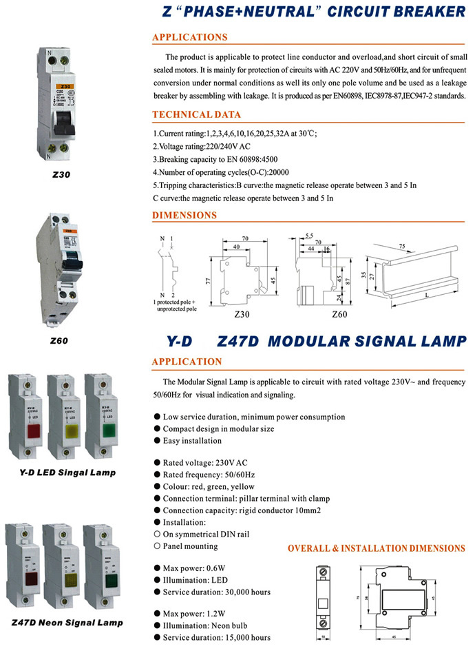 Ac 220v Yellow Mini Circuit Breaker Merlin Gerin Mcb