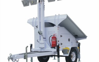 MO-4300-4 Ezitown solar battery powered led 8m mast mobile light tower manual lifting 120AH capacity 4 LED 150W lamp