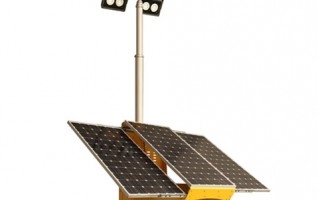 MO-3300-4 pneumatic trailer solar mobile led light tower with 4x100w LED lamp 300w solar system panel 6m mast height