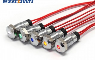 8mm 8FW-4 Panel metal Dot Led Indicator Lights with Short casing 12.7mm
