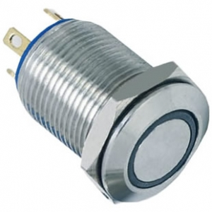 12mm 2A ring illuminated momentary 1NO flat IP65 push button