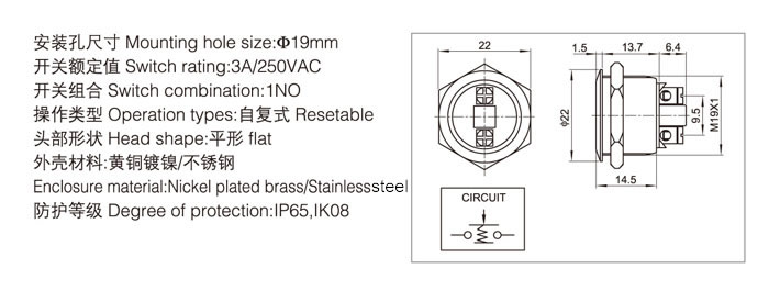 19-a4-push-button-switch-specification
