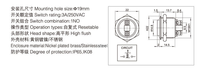 19-a6-push-button-switch-specification
