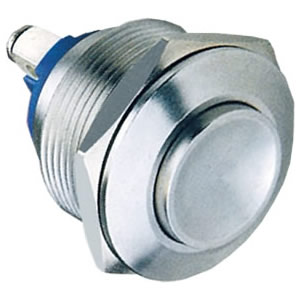 22-C3 22mm 5A 1NO Resetable high flush Nickel plated brass push button switch