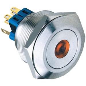 28-A2 28mm 5A dot illuminated self-locking 1NO1NC or 2NO2NC flat IP67 push button switch