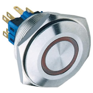 30-A1 30mm 5A ring illuminated self-locking 1NO1NC or 2NO2NC flat IP67 push button switch
