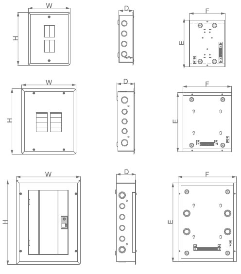 tye12 load center 12 pole distribution board