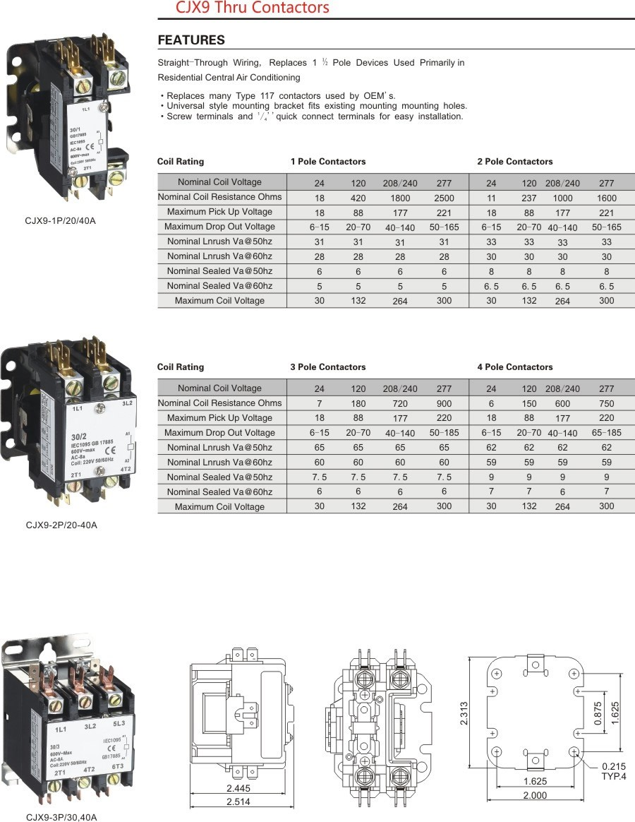 cjx9 ac contactor specification