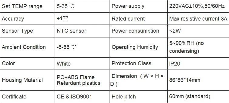 Specification of LCD display Room Thermostat set 5-35 c degree NTC Sensor