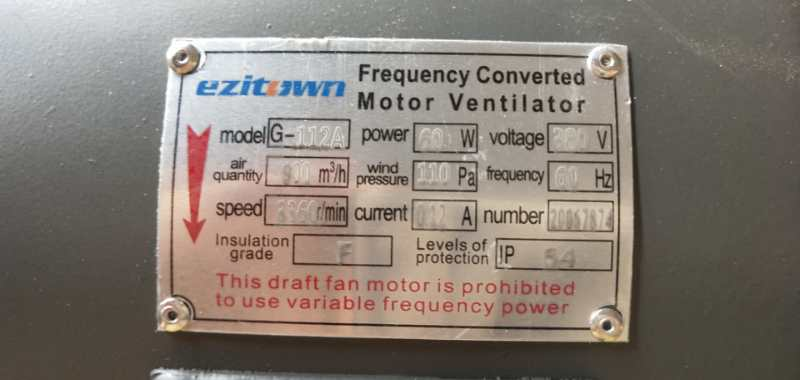 g type cooling fan label